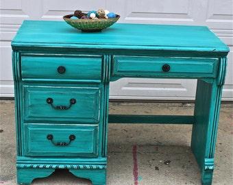 Gypsy Teal Vintage Dresser Bright Buffet By Aquaxpressions