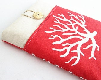 Coral Ipad case, Ipad cover, Ipad sleeve with pocket, Padded , Ipad 2, Ipad 3, Ipad air case.