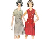 1960s Dress Pattern Butterick 2938, Mod Double Breasted A-Line Dress, Sleeveless or Short Sleeves, Vintage Sewing Pattern Bust 31 Uncut