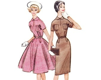 Vintage 1950s Sewing Pattern - Full or Slim Skirt Dress with Button & Tab Detailing, Easy to Sew - 1959 McCall's 4986, Bust 34