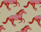 Sale - MUSTANG LINEN/COTTON by Melody Miller for Cotton + Steel - Mustangs (Pink - 0008-0012) - 1 Yard - Linen/Cotton Home Dec Weight