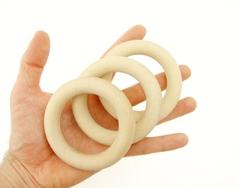 "3"" Natural Wooden Teethers - 3 pcs Organic Teething Rings."