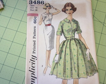 Simplicity 3486 1950s Dress Full Skirt or Wiggle Dress