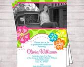 "Aloha Luau Graduation Party Invitation or Announcement   Printable 5"" x 7""   Customized   Hawaiian   Luau   Aloha"