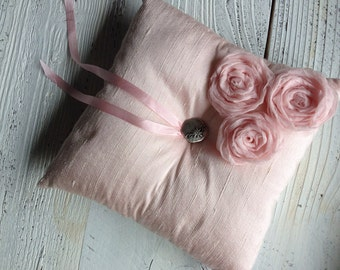 Pink Silk Dupioni Ring Bearer Pillow Silk Flower and Ribbon Wedding Ring Pillow Bridal Accessory