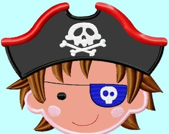 Pirate Boy with hook Applique Embroidery Design  2 sizes INSTANT DOWNLOAD
