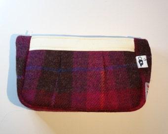 Cosmetic Bag, Harris Tweed Bag, One Of A Kind, Purple Makeup Bag, Wash Bag, Tweed Purse, Tweed Wash Bag, Scottish Tweed, Purple Cosmetic Bag