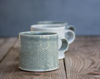 ceramic mugs set, Dark Blue Mugs, ceramic Coffee Cups, Modern Tea Cups in geometric pattern, unique coffee mugs, holidays gift, SET OF FOUR