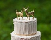 Gold Deer Cake Topper , Golden Wedding Bride & Groom, Woodland Rustic Animal Stag, Unique, Fun