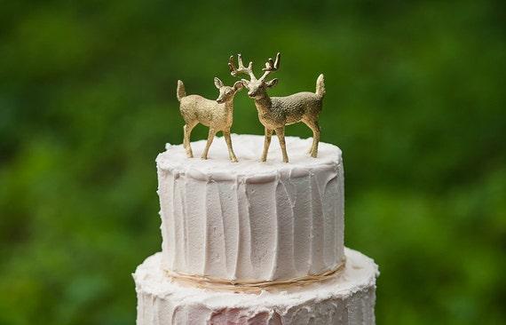 Gold Deer Cake Topper Golden Wedding Bride & Groom Woodland