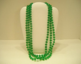 Vintage Four Strand Green Plastic Beaded Necklace (1639)