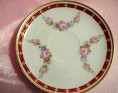 Reserved for Suzanne Shabby Plate Rosenthal Selb Bavaria Demitasse Saucer Pink Rose Red Trim Vintage