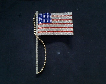 Large Rhinestone American Flag Pin, Gold Tone Metal
