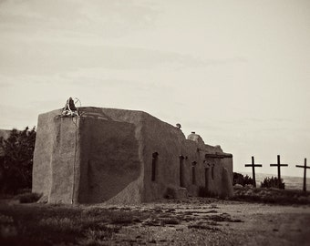 New Mexico Photograph, Abiquiu, Adobe Church, Travel Photography, Penitente Morada