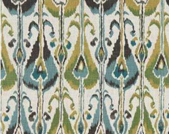 ON SALE - Aqua Blue Ikat Upholstery Fabric - Ikat Fabric On Sale