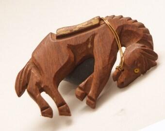 Vintage Carved wooden Horse brooch wood