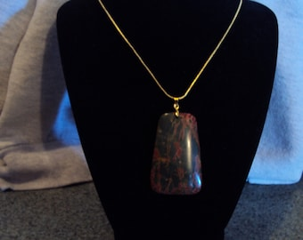 Gorgeous Muti-Color Picasso Jasper Trapezoid Pendant Necklace