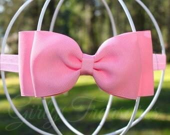 Pink Bow Headband. Baby Headband. Newborn Headband. Girl Headband. Toodler Headband. Photo Prop.