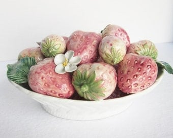Vintage Porcelain Bowl Of Strawberries, Lord & Taylor, Made In Italy, Strawberry Centerpiece, Italian Porcelain, Porcelain Fruit