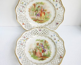 Vintage Porcelain Reticulated Plates Made in Germany US Zone, Set of Two.