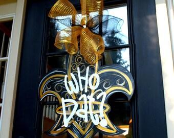 Saints Football Door Hanger, Fleur De Lis Wreath, New Orleans Football Decor