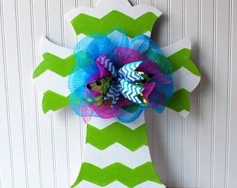 Door Hanger: Chevron Cross, Summer Wreath, Wall Cross, Hand painted wooden cross, Summer Door Hanger