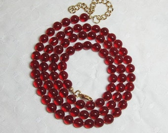 """Extra Long Red Beaded Glass Seed Bead Necklace Double Wrap Lengths with 3"""" Extender"""