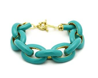 Pave Enamel  Bracelet - Turquoise - Crew Inspired