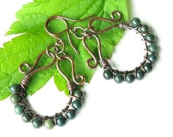 Green bloodstone earrings - copper wire wrapped hoops