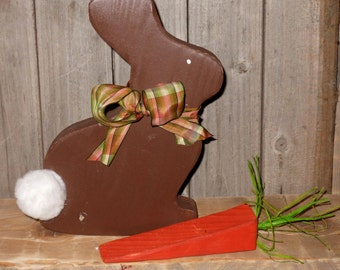 Wood chocolate bunny with carrot