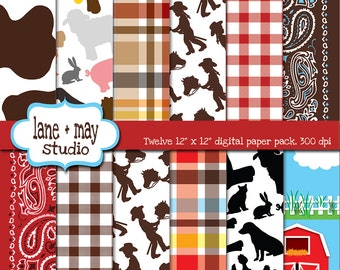 digital scrapbook papers - farm theme patterns - INSTANT DOWNLOAD
