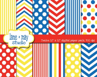 digital scrapbook papers - primary red, yellow and blue chevron, polka dots and stripes - INSTANT DOWNLOAD