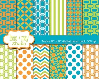 digital scrapbook papers - groovy patterns in orange, green and blue - INSTANT DOWNLOAD