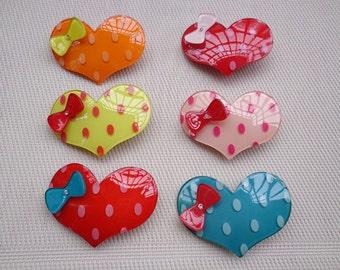 SALE-- 10 pcs Lovely Heart Hair Clip Mixed Colors (10 clors)