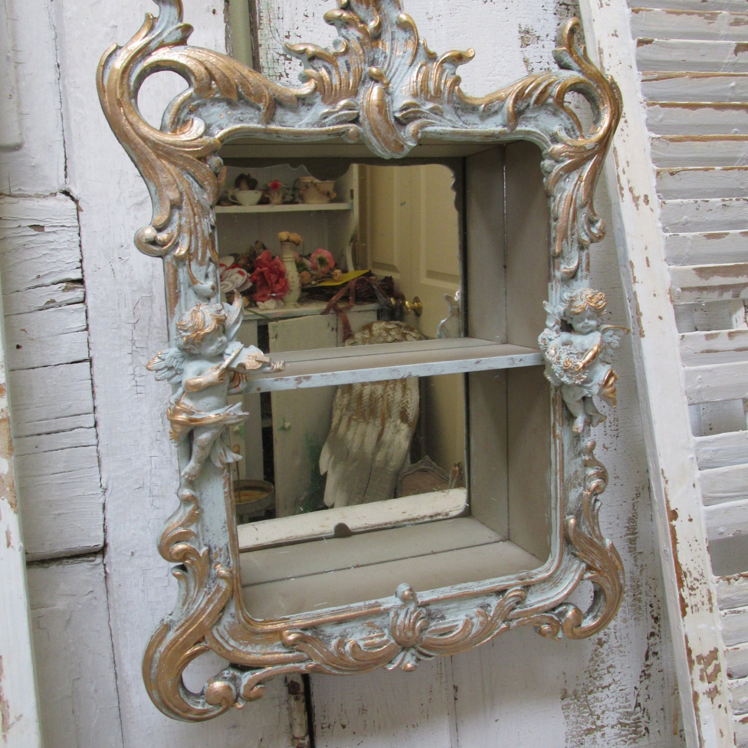 Ornate Wall Shelf Mirror With Cherubs French Blue Distressed