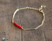 Red coral bracelet with gold plated chain for women / Coral bead bracelet