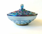 Vintage Indiana Glass Iridescent Blue Carnival Candy Covered Bowl / Dish with Lid