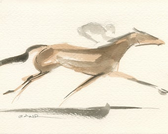 "Race Horse Art, Derby Galloping Racehorse, Original Watercolor Painting by Anna Noelle Rockwell-""Extended"""
