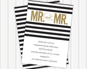 Gold Glitter Mr. & Mr. Wedding Shower Invite | 5x7 | Double Sided