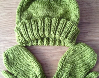 6-12months Baby Boy Hat and Mitts Set