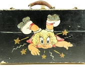 Antique Hand-Painted Whimsical Child's Roller Skate Luggage Suitcase Storage Case - Antique Storage Home Decor