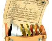 Bosley Vintage Sunshade Adapter Filter Holder and Four Glass Colored Filters - Leather Case - Red Yellow Orange