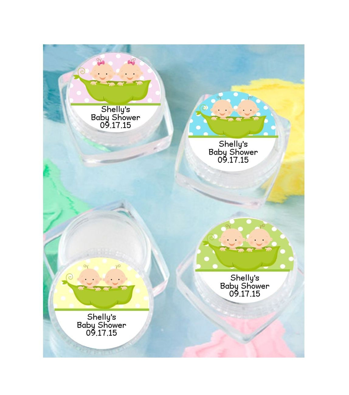 lip balm baby shower favor personalized twin peas in a pod
