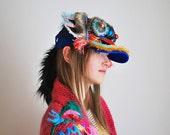 UTHA Blue Dragon headdress - hat - mask - festival headdress - rave wear