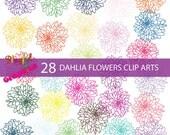 Dahlia Flowers Clip arts/ Digital clip art/ Instant download