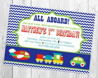 Planes, Trains and Automobiles Birthday Invite