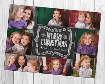 Chalkboard Style Multiple (eight) Photo Christmas Card