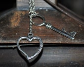 Heart and Key pendent Necklace with long Chain