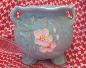Tri-footed tri handled Weller blue vase signed pink Flowers