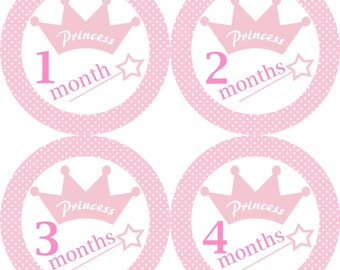 Princess Crown and Wand Monthly Birthday Stickers in Pink